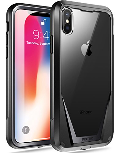 iPhone Xs Case, iPhone X Case, Poetic Guardian [Scratch Resistant Back] [Built-in-Screen Protector] Full-Body Rugged Hybrid Bumper Clear Case for Apple iPhone X (2017)/ iPhone Xs (2018) - Black