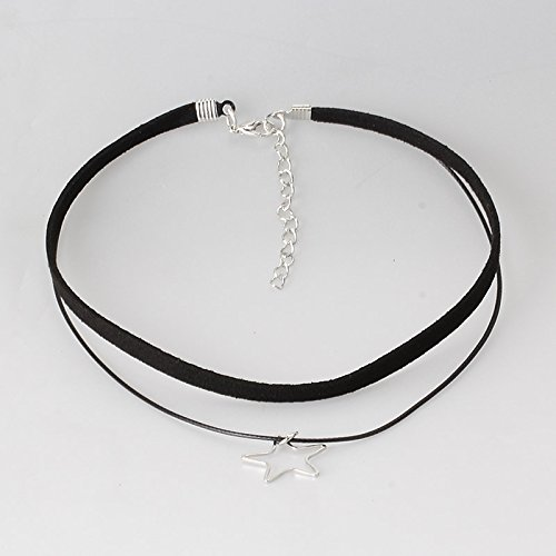 Pyrsun(TM) Women Jewelry Black Double Layer Bands Leather Choker Necklace Adjustable Lady Patty Neck Accessories with Geometric Pendant