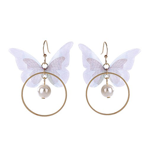 MUZHE Big Hollow Circle Fabric Tassels Pearl Butterfly Drop Earrings Beautiful Wedding Banquet Party Jewelry by MUZHE