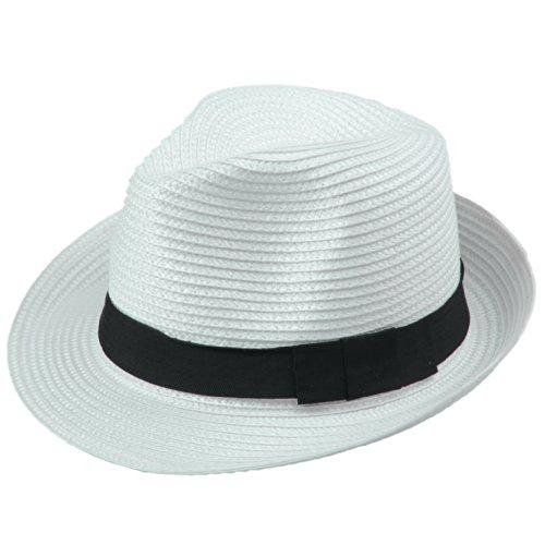 無謀食料品店アダルト(ビグッド)Bigood 紳士ハット 麦わら帽子 ストローハット 中折れハット ポークパイ帽子 PP リボン飾り メンズ レディース兼用 日よけ ホワイト