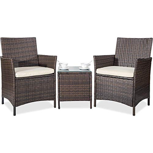 Merax 3 Pieces Patio Furniture Sets Clearance Cushioned PE Rattan Outdoor Garden Wicker Set with Beige Cushions (Brown)