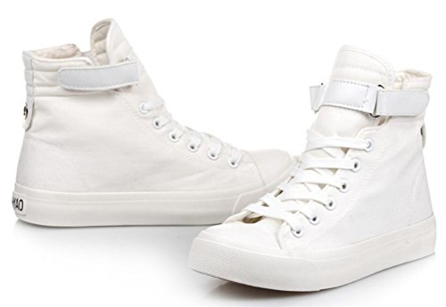 Zapatillas De Deporte Ace Shock Mujeres Casual High Top Flat Canvas Sneakers Blanco