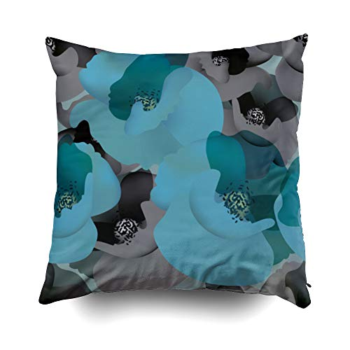 - GROOTEY Decorative Cotton Square Pillow Case Covers with Zippered Closing for Home Sofa Decor Size 18X18 Inch Costom Pillowcse Throw Cover Cushion Christmas Poppy White Black Wallpaper Blue Accent