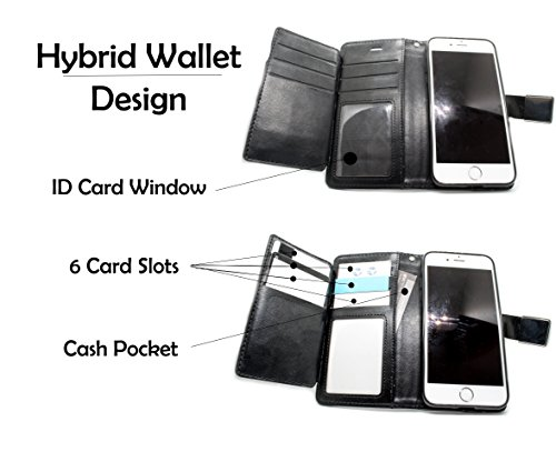 Apple iPhone 7 Wallet Phone Case for iPhone 7   iPhone 7s with Flip Case and Kickstand [Leather Wallet] with Extra Wallet Case Card Holder and ID Window - Black by Kings Cellular (Image #3)