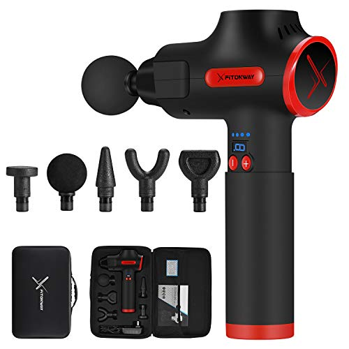 Massage Gun Deep Tissue Percussion Muscle Massager for Athletes, Self Fitness Handheld Electric Pro Body Massager, Portable Super Quiet Brushless Motor, by XFITONWAY (Black)