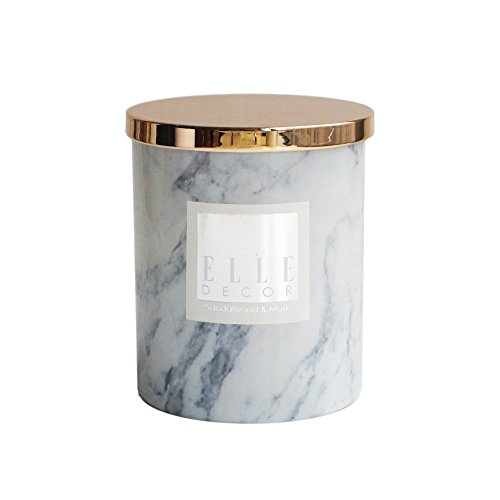 The Jay Companies 16.6 Ounce Marble Ceramic Jar Candle with Wooden Lid, White - Marble Candle Holder