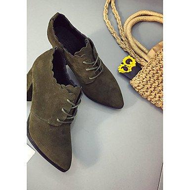 SHAOYE Mujer Zapatos Cachemira Otoño Confort Botas Tacón Robusto Dedo redondo Con Cordón Para Casual Negro Verde Ejército army green
