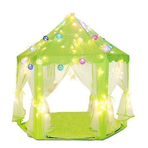 Porpora Kids Indoor/Outdoor Tent Fairy Princess Castle Tent, Portable Fun Perfect Hexagon Large Playhouse Toys for Girls 55x 53(DxH) Green with LED Lights