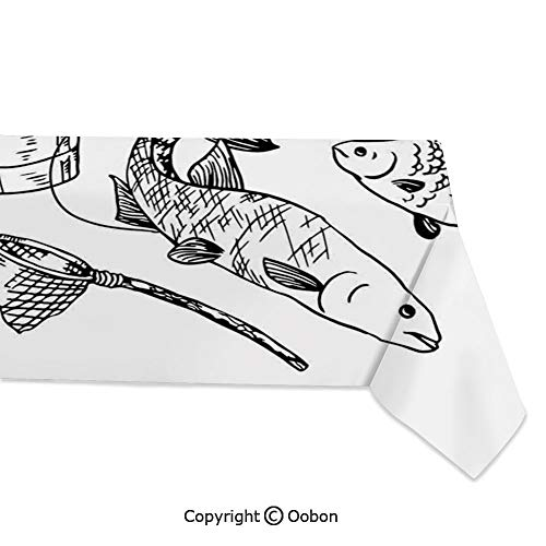 (Space Decorations Tablecloth, Hand Drawn Fishing Tools Set with Rod Salmon Perch Bucket Net Float Ribbon, Rectangular Table Cover for Dining Room Kitchen, W60xL84 inch )