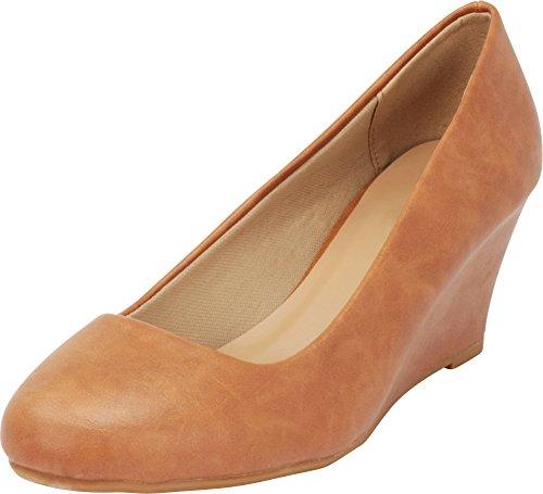 (Cambridge Select Women's Classic Slip On Ballet Mid Wedge Heel Pump (8.5 B(M) US, Tan PU))