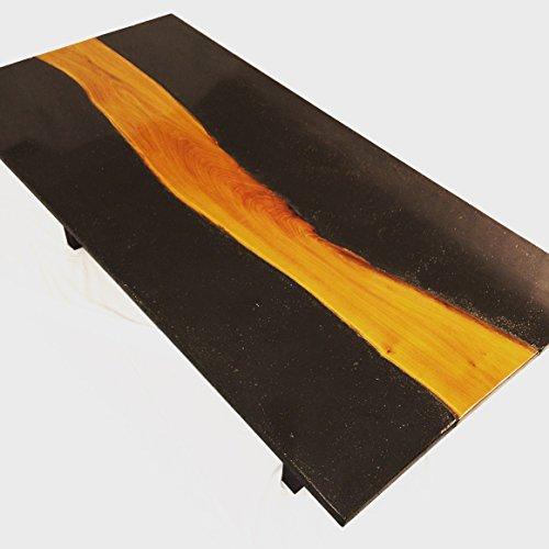 Osage orange, concrete & walnut coffee table For Sale