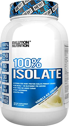 Evlution Nutrition 100% Isolate, Hydrolyzed Whey Isolate Protein Powder, 25 G of Fast Absorbing Protein, No Sugar Added, Low-Carb, Gluten-Free (Vanilla Ice Cream, 1.6 LB) (Best No Sugar Added Ice Cream)