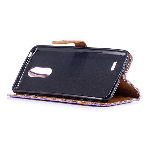 Para LG K4 2017 funda, (Vaquero azul) Dril de algodón de colores mezclados caja del teléfono móvil de cuero PU Leather cubierta Función de Soporte Billetera con Tapa para Tarjetas correa de mano sopor Cowboy púrpura