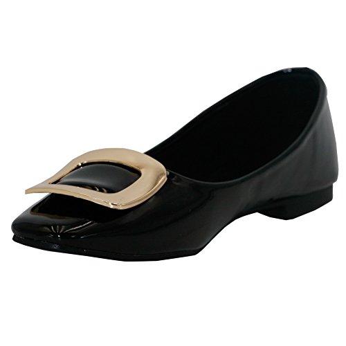 Aalardom Kvinnor Kvadrat-toe Pull-på Pu Pumpar-skor Med Metall Svart-spännen