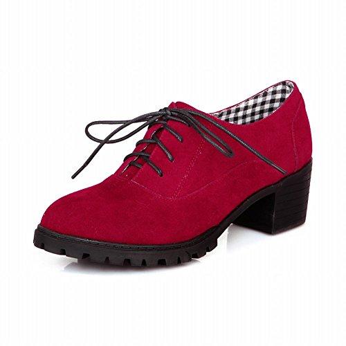 Latasa Kvinna Mode Nubuck Chunky Låg Häl Oxfords, Västerländsk Stil Red