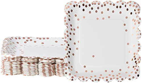 Rose Gold Paper Plates - 48-Pack Disposable 9-Inch Square Scalloped Plates with Rose Gold Foil Polka Dot Confetti, For Cake, Appetizer, Lunch, Dessert, Elegant Party Supplies ()