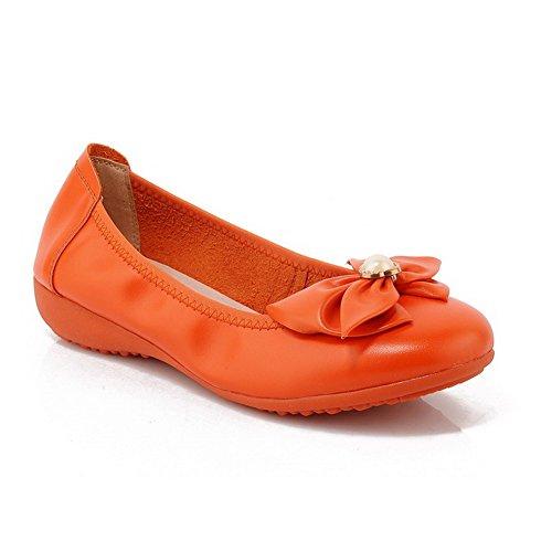 AllhqFashion Mujeres Sólido Mini Tacón Puntera Redonda Cerrada De salón con Joyas Naranja