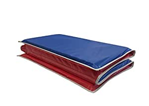 KinderMat 1 Inch Rest Mat with Gray Binding, Red/Blue, 5 mil Vinyl