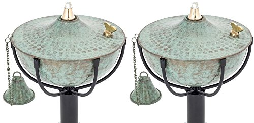 Maui Torch Set of 2, Landscape torch, Oil lamp, Tabletop Torch, Outdoor Lighting (Patina)