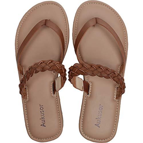 Aukusor Women's Wide Width Flat Sandals - Flip Flop Open Toe Cozy Summer Shoes.(181276 Brown,10.5)
