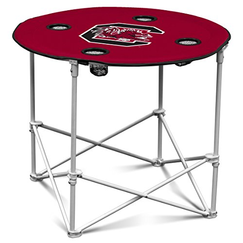 Logo Brands South Carolina Gamecocks Collapsible Round Table with 4 Cup Holders and Carry Bag