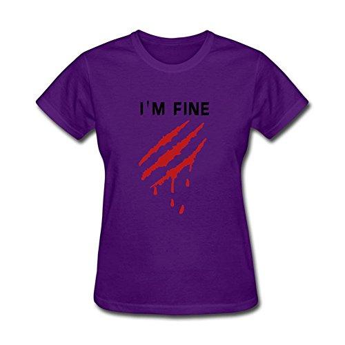Twentees Printed Graphic Women's I'm Good Tees O-Neck Purple ()