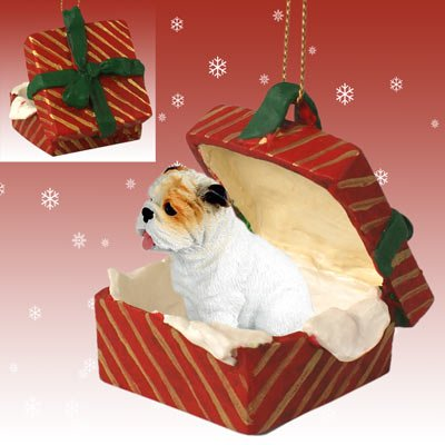 White Gingerbread Dog House Ornament - BULL DOG White English BullDog sits in a Red Gift Box Christmas Ornament New RGBD05C