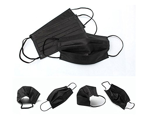 50Pcs 3Ply Non-woven Fabric Disposable Ear-loop Face Mask Dust Filter Mouth Cover (Black)