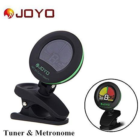 zytree (TM) Joyo JMT-01 clip-on para Guitarra Eléctrica sintonizador y metrónomo Sintonizador de micrófono integrado color pantalla para guitarra cromática ...