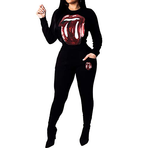 ChengQi Womens 2 Piece Outfits Fashion Casual Eye Sequins Round Neck Long Sleeve Tracksuit Jumpsuit Set(Lips Black-XXL)