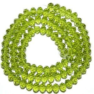 Steven_store CR274 Olivine Green 6mm Rondelle Faceted Cut Crystal Glass Beads 16