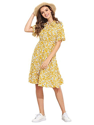 Floerns Neck Summer Length Women's Sleeve Short Floral Tie Knee Print Yellow Dress CqCTzrXw