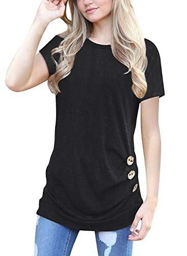 MOLERANI Women's Short Sleeve Scoop Neck Casual Tunic T Shirt Blouse Tops Black - Body Extra Long Ladies