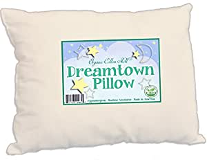 Dreamtown Kids Toddler Pillow with Organic Cotton Shell and Down Alternative, Hypoallergenic Filling 13x19, Natural Un-Bleached Tan