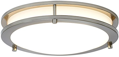 NEW Modern Round LED Ceiling Light | Contemporary Sleek Circular Design | Frosted Fixture with Brushed Aluminum | 3000K Warm White Dimmable LED (American Standard Hamilton Toilet)