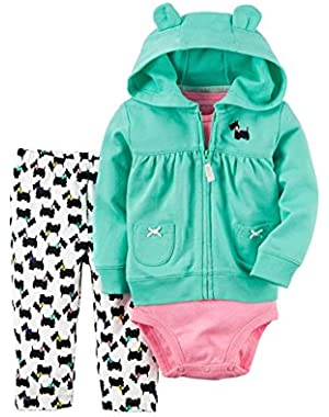 Baby Girls 3-pc Scotty Dog Hoodie Pants Set
