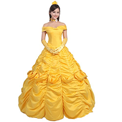 Ainiel Women's Cosplay Costume Princess Dress Yellow Satin (XL, Style 1)