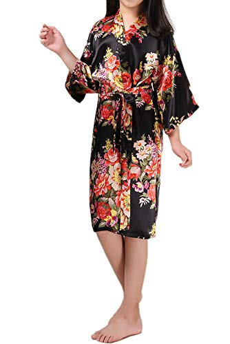 Zaaale Kids Girls Satin Silk Kimono Robe Bathrobe Nightgown Bridesmaid Sleepwear for Spa Party Wedding Birthday (Tag 4(for 80-90cm Kid Girl), Floral Black) ()
