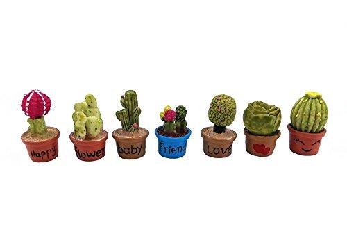 - yueton 7pcs Cactus & Flower Pot Plant Miniature Ornament Set for Dollhouse Decor Fairy Garden