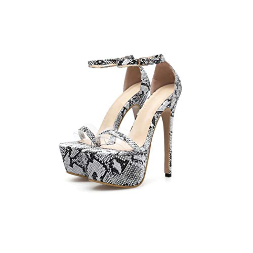 Dream-catching Women Summer 16cm High Heels Sandals Fetish Valentine Serpentine Platform Pumps Heels Shoes,Snake Print,6