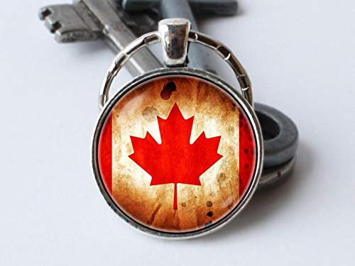 Canadian Jewelry - Art Picture Key Chains,Canadian vintage flag Canada keychain Flags key ring Canadian jewellery Flag of Canada Maple Leaf key chain Travel gift Canadian jewelry Red,Gift of love