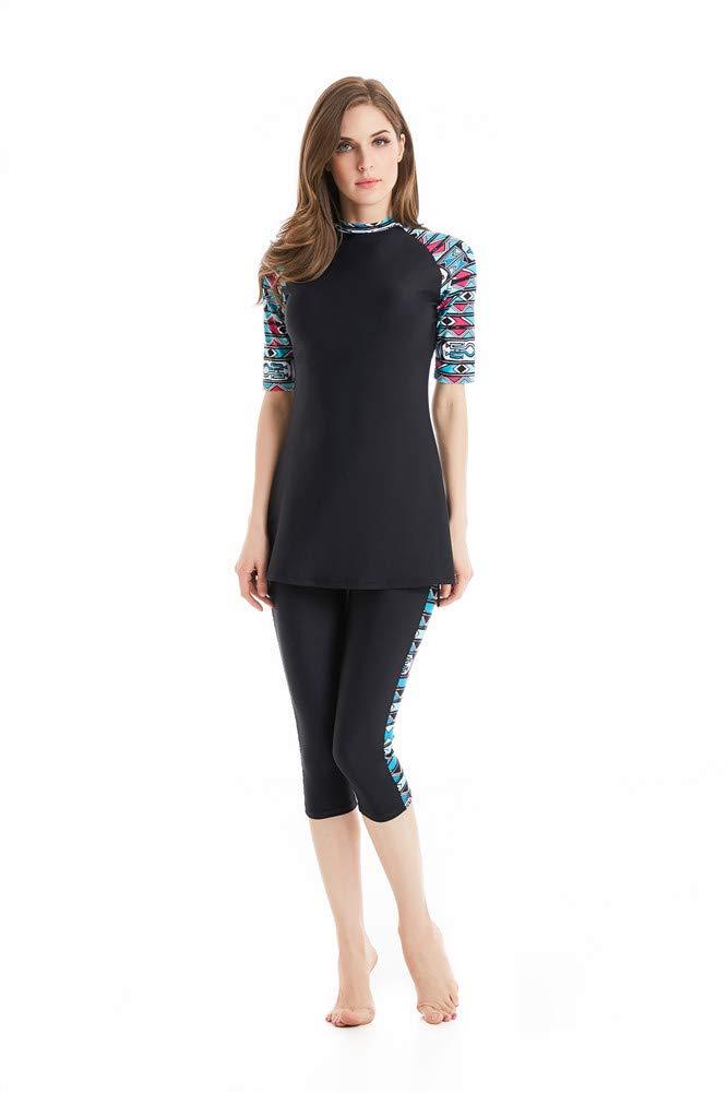 nadamuSun Maillots de Bain Modeste Combinaison Surf Femme Musulmane Hindou juif Short pour Femme Beachwear Islamique Burqini Burkini
