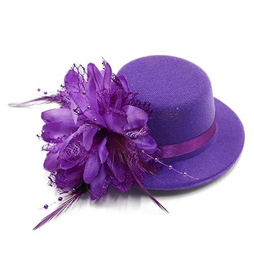 BAOBAO Women Flower Mini Top Hat Fascinator Wedding Party Bridal Hair Clip Hairpin, Purple