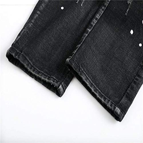 Pants Destruido Closure Targogo Denim Negro Mid Fit De Slim Placket Densidad Stretch Point He Los Hombres Jeans Waist Decoration zT4wPxzq