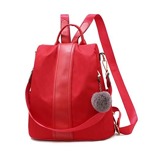 Women Backpack Purse Nylon Anti-theft Waterproof Lightweight School Shoulder Bags (Red)