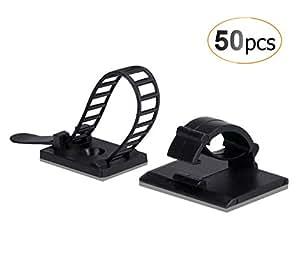 AGPTEK 50/Pack Combinación de Organizador de cables (25 Unidades Ajustable Cable Tie Monte Adhesivo + 25 Clips de cable autoadhesivos), Color Negro