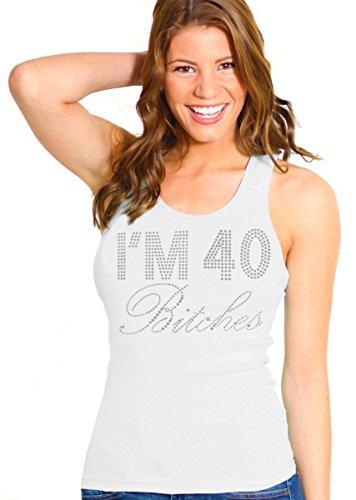 RhinestoneSash 40th Birthday Shirts for Women - Crystal I'm 40 Bitches Tank Top - 40th Birthday Tops - Small - - Crystal Tank Rhinestone Top