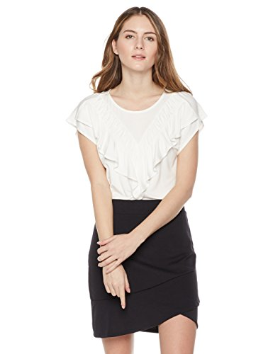 Ruffle Front Cap (Painted Heart Women's Cap-Sleeve Ruffle Front Top Large Ivory)