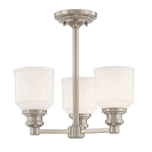 Windham 3-Light Semi Flush - Satin Nickel Finish with Opal Glossy Glass Shade