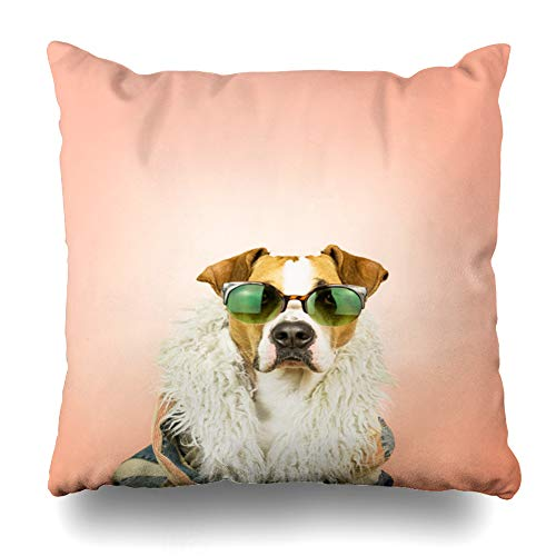 Darkchocl Daily Decoration Throw Pillow Covers Funny Dog Color Summer Pink Square Pillowcase Cushion for Couch Sofa or Bed Modern Quality Design Cotton and Polyester 18